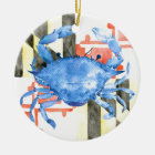 Watercolor maryland flag and blue crab ceramic ornament