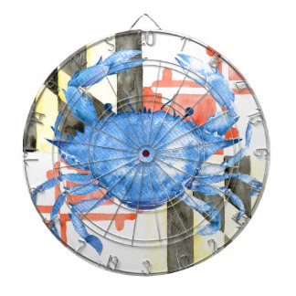 Watercolor maryland flag and blue crab dartboard