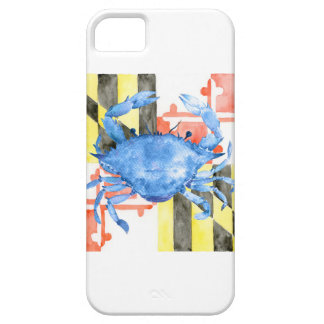 Watercolor maryland flag and blue crab iPhone 5 covers
