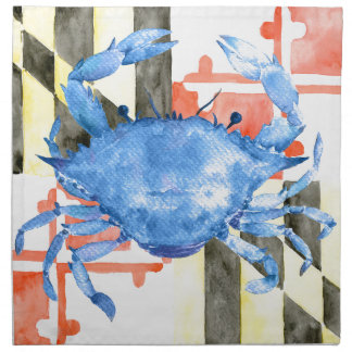 Watercolor maryland flag and blue crab napkin