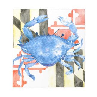 Watercolor maryland flag and blue crab notepad