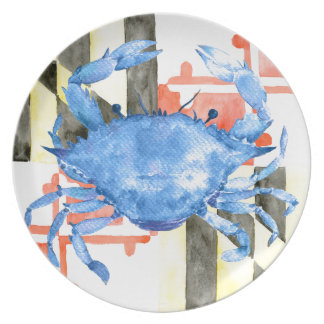 Watercolor maryland flag and blue crab party plate