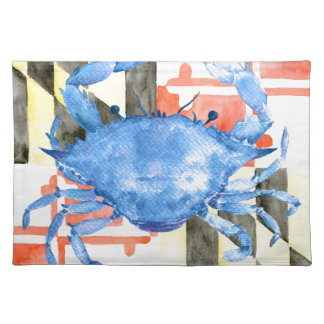 Watercolor maryland flag and blue crab placemat