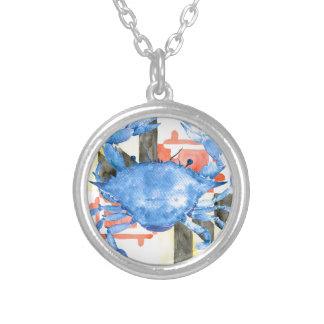 Watercolor maryland flag and blue crab silver plated necklace