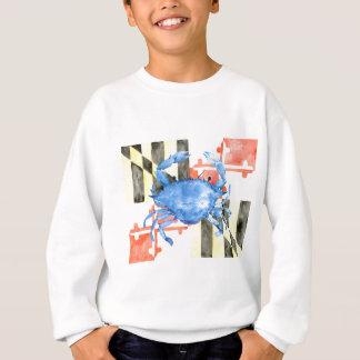 Watercolor maryland flag and blue crab sweatshirt