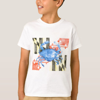Watercolor maryland flag and blue crab T-Shirt