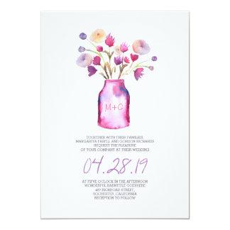 Watercolor mason jar and purple flowers wedding card