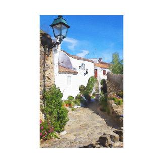Watercolor Mediterranean village Canvas Print
