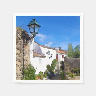 Watercolor Mediterranean village Disposable Serviette