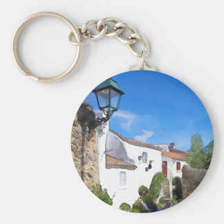 Watercolor Mediterranean village Key Ring