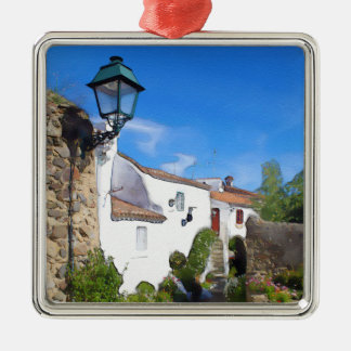 Watercolor Mediterranean village Metal Ornament