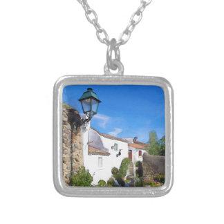 Watercolor Mediterranean village Silver Plated Necklace