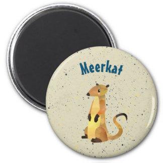 Watercolor Meerkat on a Beige Background Magnet