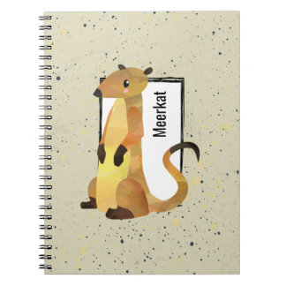 Watercolor Meerkat on a Beige Background Spiral Notebook