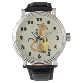 Watercolor Meerkat on a Beige Background Watch