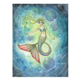 Watercolor Mermaid Art Postcard by Molly Harrison