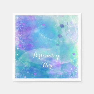 Watercolor Mermaid Tail Birthday Party Custom Paper Napkin
