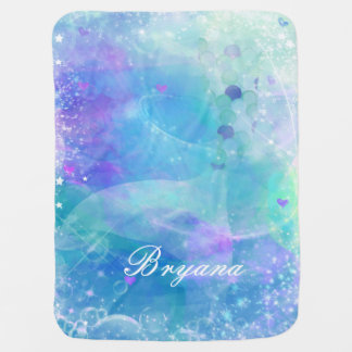 Watercolor Mermaid Tail Fantasy Enchanted Custom Baby Blanket