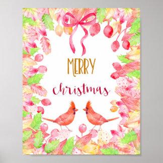 Watercolor Merry Christmas Cardinal Bird Poster