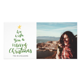 Watercolor Merry Christmas Green Typography Photo Card