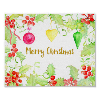 Watercolor Merry Christmas Holly and Baubles Poster