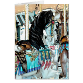 Watercolor Merry-Go-Round Horse Card