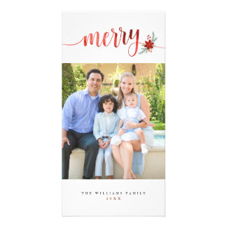 Watercolor Merry Poinsettia Christmas Card