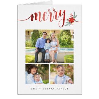 Watercolor Merry Poinsettia Christmas Photo Card