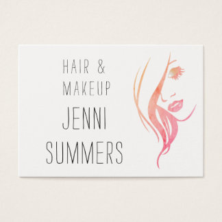 Watercolor Minimalist Make Up & Hair Stylist Business Card
