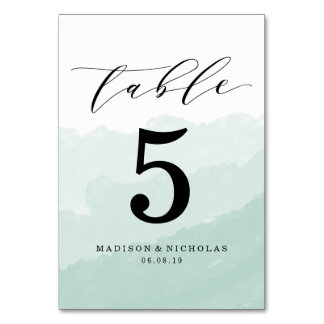 Watercolor Mist | Personalised Table Number Card
