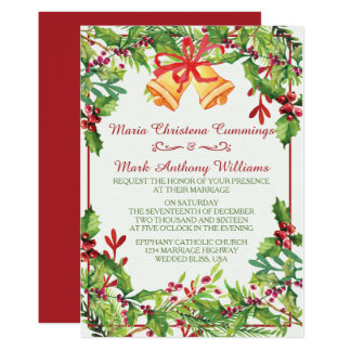 Watercolor Mistletoe Holiday Wedding Invitation