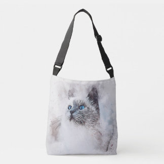 Watercolor Mix Media Blue Eyed Kitten Crossbody Bag