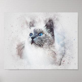 Watercolor Mix Media Blue Eyed Kitten Poster