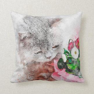 Watercolor Mix Media Kitten & Flowers Cushion