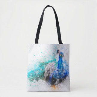 Watercolor Mix Media Peacock1 Tote Bag