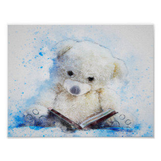 Watercolor Mix Media Teddy Bear Poster