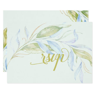 Watercolor Modern Boho Leafy Branches RSVP Card