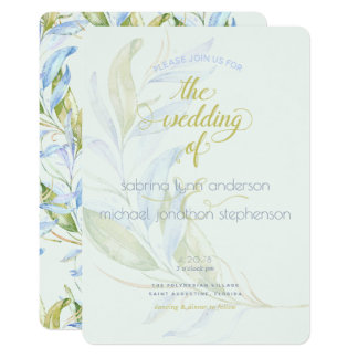 Watercolor Modern Boho Leafy Branches Wedding Card
