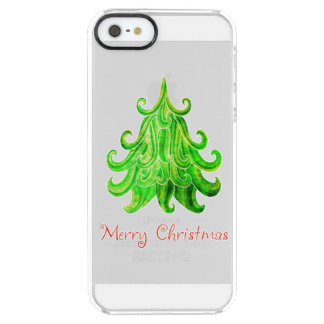Watercolor Modern Christmas Tree Clear iPhone SE/5/5s Case