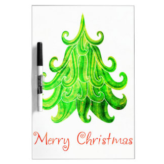 Watercolor Modern Christmas Tree Dry Erase Board