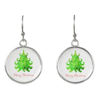 Watercolor Modern Christmas Tree Earrings