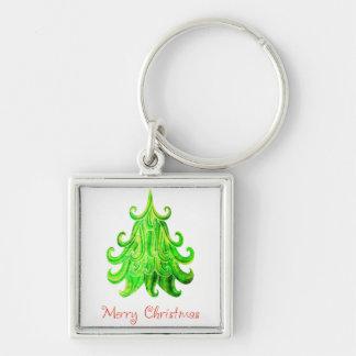 Watercolor Modern Christmas Tree Key Ring