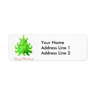 Watercolor Modern Christmas Tree Return Address Label