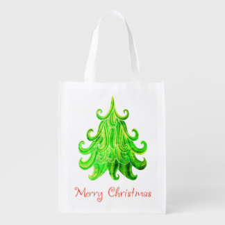 Watercolor Modern Christmas Tree Reusable Grocery Bag