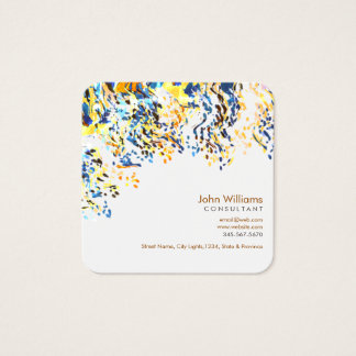 Watercolor Modern Nature Paints Green Brushstrokes Square Business Card