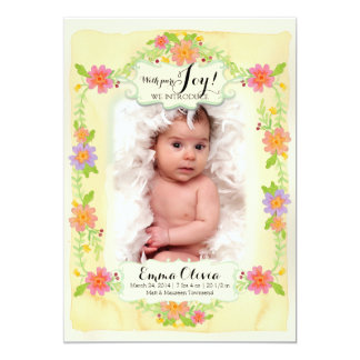 """Watercolor Modern Painterly Floral Baby Girl Birth 5"""" X 7"""" Invitation Card"""