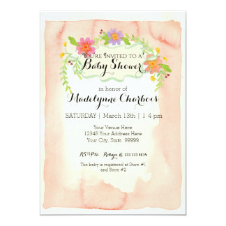 """Watercolor, Modern Painterly Floral  Baby Shower 5"""" X 7"""" Invitation Card"""