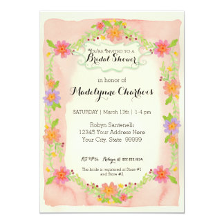 """Watercolor Modern Painterly Floral Bridal Shower 5"""" X 7"""" Invitation Card"""