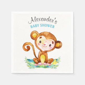 Watercolor Monkey Boy Baby Shower Disposable Serviette