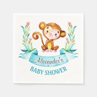 Watercolor Monkey Boy Baby Shower Paper Napkins